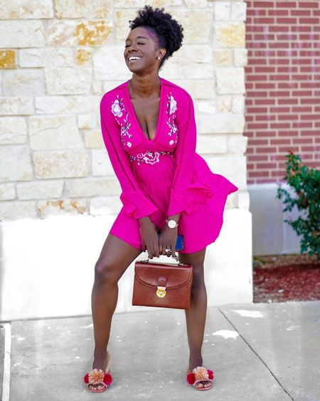Summer dress; Embroidered pleated mini hot pink dress from ASOS http://liketk.it/2QLBG  @liketoknow.it #liketkit #LTKsalealert #LTKsummer #LTKunder100 #LTKunder50