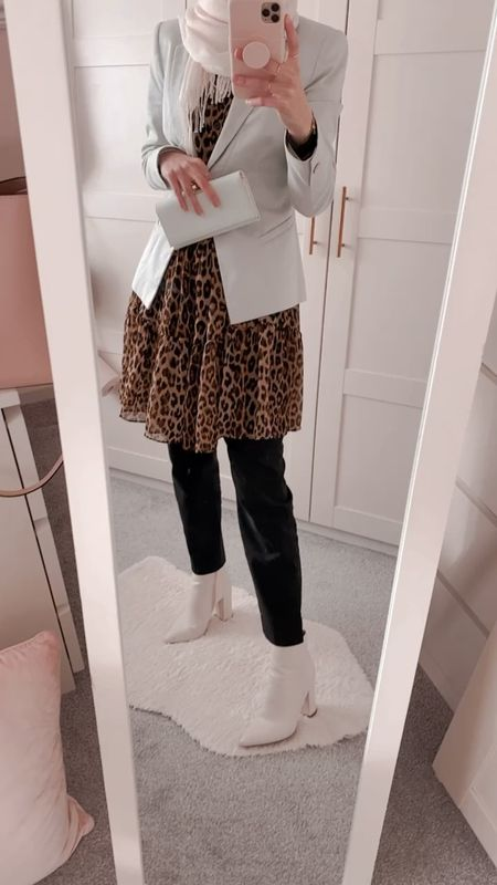 When winter meets a girl who's ready and excited for spring!   Pastel blazer - spring - leopard print - dress - modest - black trousers   #LTKunder50 #LTKVDay #LTKSeasonal