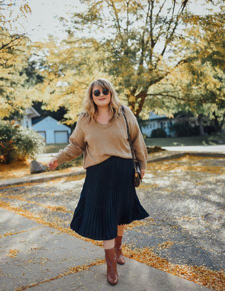 Sweater and skirt outfit idea!   #LTKcurves #LTKSeasonal #LTKstyletip