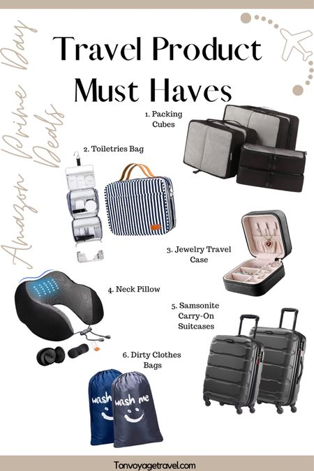 Great deals on these must have travel products from the Amazon Prime Day Sale! Packing cubes, toiletries bag, jewelry case, neck pillow, Samaonite suitcases, & dirty laundry bags! I own all of these products (different versions)! http://liketk.it/2YMrs #liketkit @liketoknow.it #LTKtravel #LTKunder50 #LTKsalealert