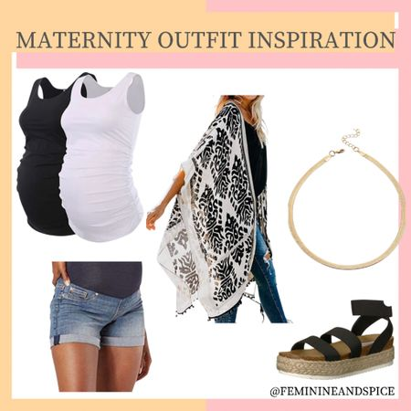 Maternity Inspiration! Best part is the kimono, shoes, and necklace are for everyone ❤️  I bought these maternity shorts for summer and I love them! I actually bought two pairs after seeing the good quality!   http://liketk.it/3hSI3 #liketkit @liketoknow.it #LTKbump #LTKshoecrush #LTKstyletip
