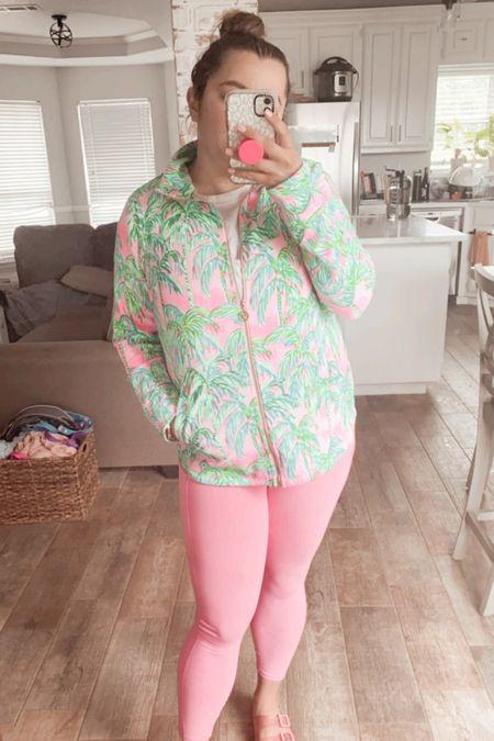 Lilly Pulitzer luxletic workout zip up sweater popover Fabletics pink PureLuxe workout leggings   #LTKunder50 #LTKfit #LTKunder100