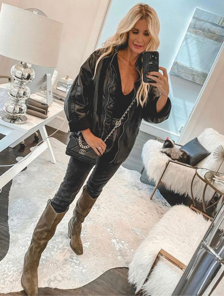 This faux leather bomber jacket is so good! It's perfectly over-sized and super comfy!! It runs tts, I'm wearing a size small.   Follow my shop @soheatherblog on the @shop.LTK app to shop this post and get my exclusive app-only content!  #liketkit  @shop.ltk http://liketk.it/3oVQ1  Follow my shop @soheatherblog on the @shop.LTK app to shop this post and get my exclusive app-only content!  #liketkit #LTKunder100 #LTKshoecrush #LTKstyletip @shop.ltk http://liketk.it/3pa0z