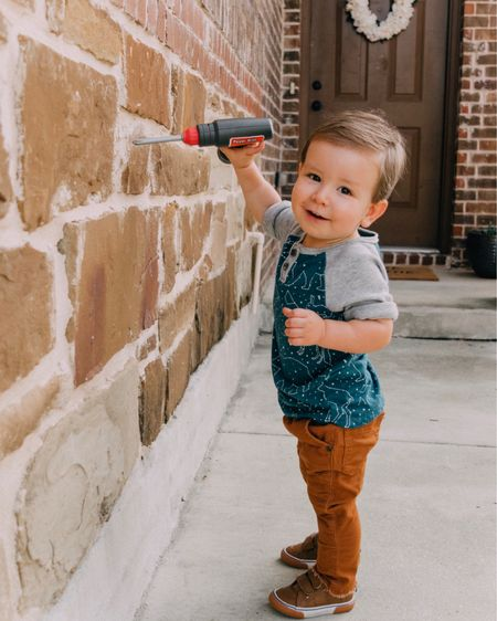 """My little handyman 🔨🔧  My mom ordered Emerson this play tool set and he's been """"fixing"""" things around the house all weekend. 🤗 Shop your screenshot of this pic with the LIKEtoKNOW.it appor click the link in my bio. http://liketk.it/2xFfW #liketkit @liketoknow.it @liketoknow.it.family #LTKbaby #LTKfamily #LTKkids"""