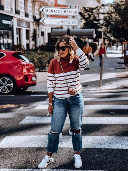 Turtle neck, straight jeans, veja sneakers, Chanel WOC, oversized sunnies, fall sweater   #LTKSeasonal #LTKtravel #LTKeurope