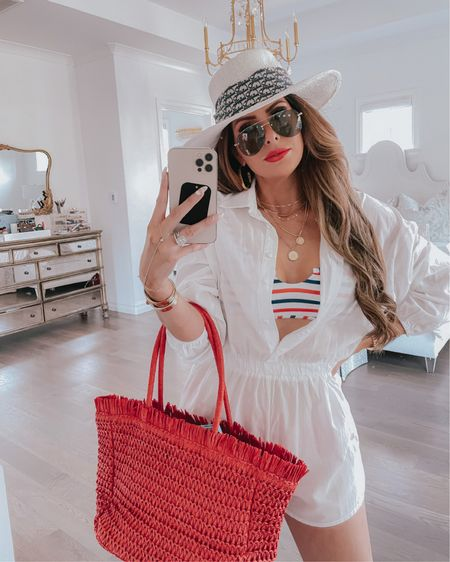 Emily Ann Gemma, 4th of July Outfit, Patriotic Outfit, Casual Summer Outfit 2021, White and gold sandals, White cotton romper, Shein, Summer Hat , Red Dress, Shein bikini, What to wear summer 2021, Red Straw Handbag, H&M finds, H&M outfit,  Patriotic swimsuit http://liketk.it/3iqRo #liketkit @liketoknow.it