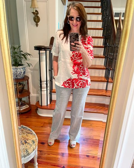 I'm obsessed with the blue and white summer pants from Chico's! Love them paired with this floral linen top. Such a fun color play with corals! Chico's for the win! http://liketk.it/3g2cL #liketkit @liketoknow.it #LTKhome #LTKstyletip #LTKunder100 @liketoknow.it.home