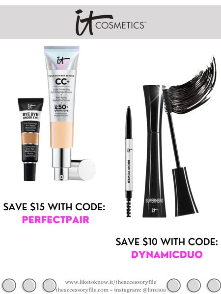 It Cosmetics bundle deals - discount codes below  Get your shades in Your Skin But Better CC Cream & Bye Bye Under Eye and save $15 with code: PERFECTPAIR  Get your shade in Brow Power & Superhero Mascara and save $10 with code: DYNAMICDUO  Makeup, beauty products, concealer, foundation, brow pencil    http://liketk.it/3hI1A #liketkit @liketoknow.it #LTKbeauty #LTKsalealert #LTKunder50