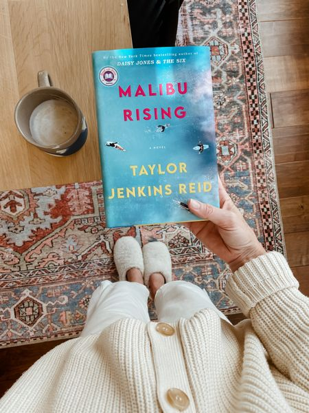 Finished Malibu Rising this morning! Fun read 👍🏼 slippers and cardigan linked   #LTKstyletip #LTKHoliday #LTKSeasonal