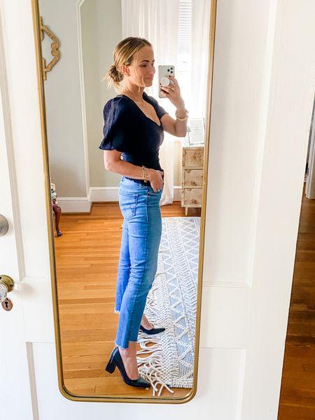 These mother jeans look so cute with these black block heel pump.   #LTKshoecrush #LTKstyletip #LTKunder100