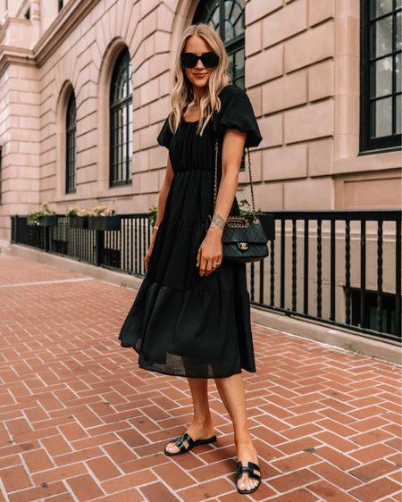 Love this under $100 black midi dress for summer. Dress it up or down with sneakers or sandals #summerdresses #dresses #blackdress http://liketk.it/3hbPH #liketkit @liketoknow.it #LTKunder100 #LTKstyletip #LTKunder50