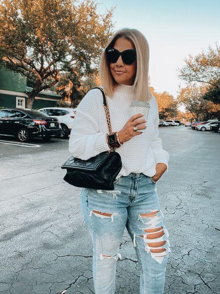 Abercrombie skinny jeans, mom jeans, white sweater, oversized sunnies, cat eye sunnies, Tory Burch bag, gold bracelets, Victoria Emerson bracelets  #LTKSpringSale #LTKsalealert
