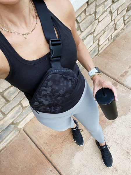 Today's workout outfit! Leggings are a small and part of the #nsale! Size 4 in the top and obsessed with this under $40 belt bag! #workoutoutfit #lululemon #alo #nsale   #LTKunder100 #LTKsalealert #LTKfit
