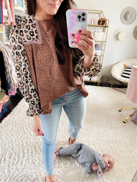 """Use code """"BRITTANY"""" for 20% off this super cute Anthropologie dupe blouse! True to size"""