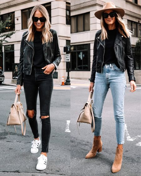 My favorite black leather jacket is 20% off right now! Fits tts (wearing a small) and is the perfect staple for fall! #leatherjacket #falloutfit #booties #fallhat #sneakers   #LTKsalealert #LTKunder100 #LTKstyletip