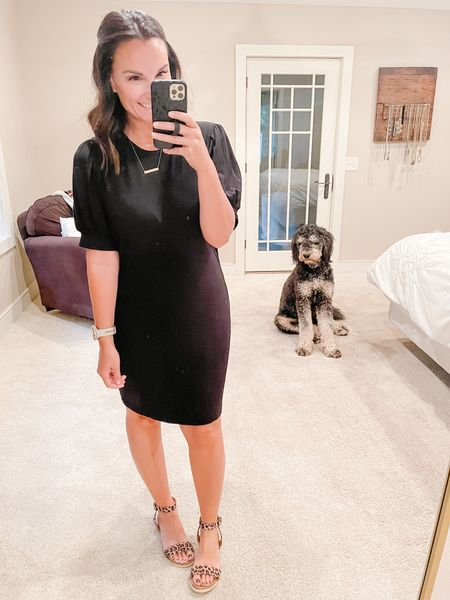 Rizzo has his pose down, he may need to work on that bed head though!  I love a puff sleeve and even better on a comfy t-shirt dress!    #LTKbacktoschool #LTKunder50 #LTKcurves