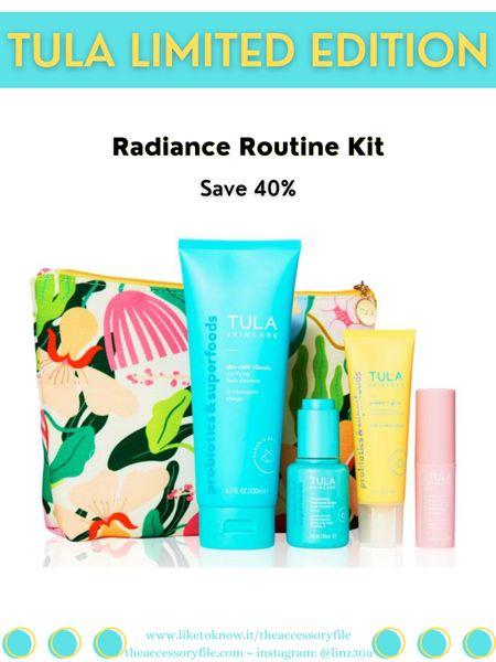 Use code GLOW15 for 15% off   Tula limited edition kit. Facial cleanser, vitamin C serum, SPF 30 sunscreen, rose glow & get it cooling & brightening eye balm, skincare   http://liketk.it/3hHz1 #liketkit @liketoknow.it #LTKbeauty #LTKsalealert #LTKunder100