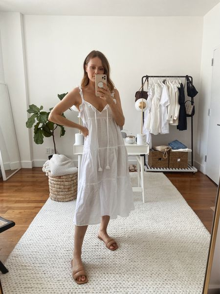 Under $100 summer style: J.crew tiered white maxi dress for summer and Marc Fisher ralla slides (both fit true to size)   #LTKunder100 #LTKshoecrush #LTKSeasonal