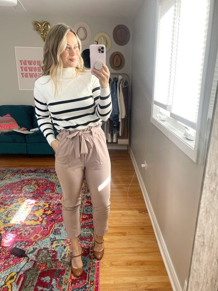 business casual outfit ideas: these work pants and striped sweater are both amazon finds, a cute business casual fall outfit. Also linked some of my favorite heels for work.   #LTKstyletip #LTKworkwear #LTKunder50