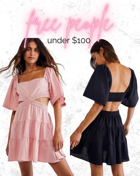 Under $100 mini dress Casual sundress free people Black pink cream ochre Cutouts ruffle sleeve   #LTKstyletip #LTKunder100 #LTKtravel