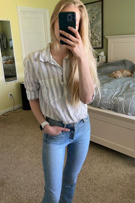 Light blue wash jeans with high rise and ankle length Blue and white striped 100% linen shirt  http://liketk.it/3hTlS #liketkit @liketoknow.it #LTKstyletip #LTKunder100 #LTKsalealert