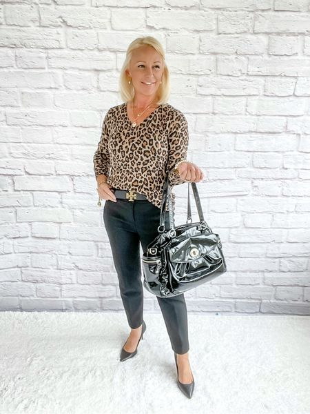 Leopard /  Workwear / Work Wear / Office Look / Office Outfit / Business Casual / Office Casual / Work Outfit / Tory Burch / Kate Spade /  Coach Handbags / Handbag /petite / over 40 / over 50 / over 60 / Fall Outfit / Fall Fashion     #LTKitbag #LTKSeasonal #LTKworkwear