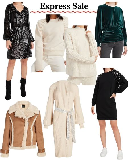 Express sale. Jackets. Coats. Moto jacket. Holiday dresses. Christmas outfits. Gift guide for her. Sweater dress. http://liketk.it/3223K #liketkit @liketoknow.it #LTKgiftspo #LTKunder50 #LTKsalealert