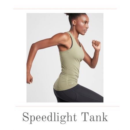The Speedlight Tank from Athleta is one of my favorites! Why? You can wear this workout tank to the gym, studio, or for an outdoor run. You will also LOVE the hem-grippers that will keep the tank in place during your workouts.  The racer design also makes it easy to train no matter what sport your doing. Pair it with you favorite shorts or leggings. Details include side ruching and several color options including this beautiful shadow olive. Sizes run from XXS to XL.   #kimbentley #fitness #Fitnessfashion  #LTKunder50 #LTKstyletip #LTKfit