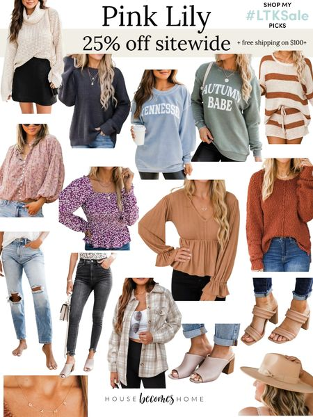 LTK Early Gifting Sale! 25% off sitewide plus free shipping on orders over $100 at Pink Lily!  Fall outfits, teacher outfits, ootd, jeans, sweaters, sweatshirts   #LTKstyletip #LTKGiftGuide #LTKSale
