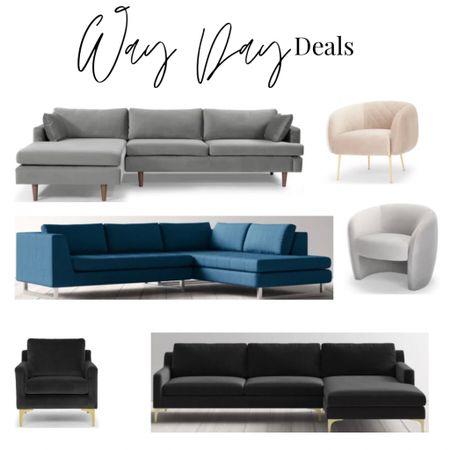 Way Day deals. Wayfair modern furniture sale. Velvet sofa and sectional. Velvet armchair. Black, blush, royal blue living room furniture   #LTKhome #LTKstyletip #LTKsalealert