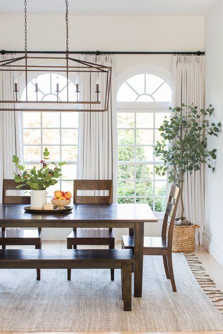Dining room, kitchen, breakfast room, morning room, nook, eating area, bench, artificial tree, eucalyptus, chandelier   #LTKhome #LTKsalealert #LTKSeasonal