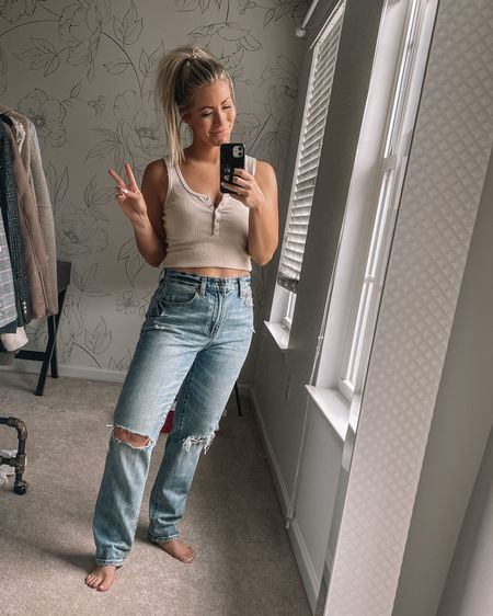 Cute basic ribbed Henley you need in your closet! Comes in a ton of colors- plus loving the 90's high rise denim trend! http://liketk.it/3gLLw #liketkit @liketoknow.it #LTKunder100 #LTKunder50 #LTKDay