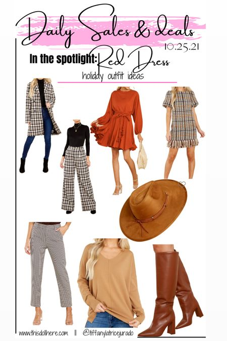 Holiday outfit ideas, holiday dress, fall fashion, boots, hat, sweater  #LTKHoliday #LTKstyletip
