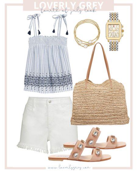 Loverly grey Fourth of July look 🇺🇸 pair white denim shorts with a fun top!   #LTKunder100 #LTKunder50 #LTKstyletip