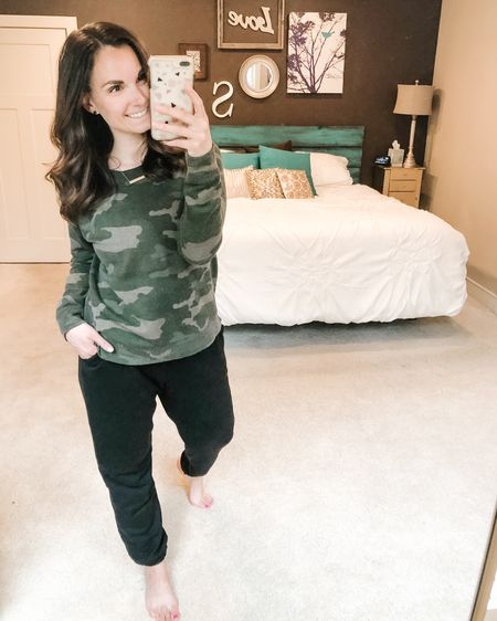 Camo cozy around here in this camo sweatshirt and these super comfy basic sweatpants. http://liketk.it/2NUNC #liketkit @liketoknow.it Shop my daily looks by following me on the LIKEtoKNOW.it shopping app