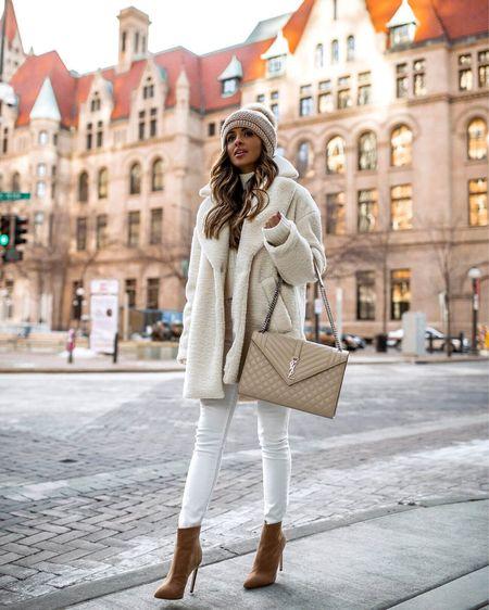 White fall outfit H&M white shearling coat H&M white sweater White jeans  Kyi Kyi Pom Pom Beanie   #LTKstyletip #LTKunder100 #LTKSeasonal