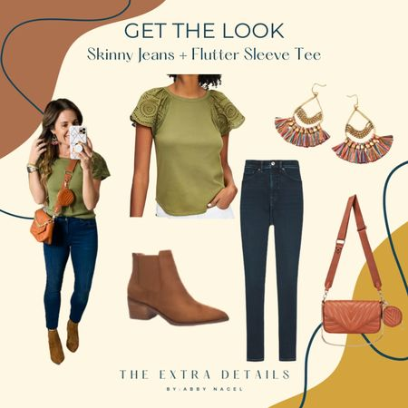 Get The Look  Flutter Sleeves Skinny Jeans Crossbody  Ankle Boots     #LTKstyletip #LTKshoecrush #LTKunder50