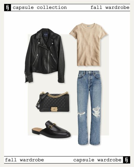 Fall capsule wardrobe! Fall outfit idea. Black leather jacket, ripped jeans, Gucci mules   #LTKunder50 #LTKunder100 #LTKstyletip