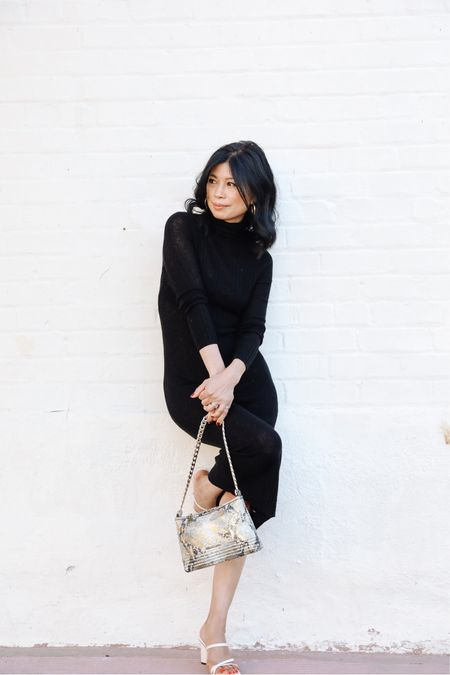 What is one item ideal for taking you into the new season in comfort and style?    For me, it's a classic black knit dress.  I can elevate a plain black knit dress with a pair of high heeled sandals and a @brahmin chain link snakeskin bag for a girls night out or pair it with knee high boots for a PTA meeting.  Styling for this chic knit dress is endless.  It's also the perfect transitional piece for fall and winter and it gets much cooler later.    My dress is from last season and already sold out.  But  I have linked some similar affordable black knit dresses for you to style.  #inbrahmin    #LTKstyletip #LTKsalealert #LTKunder50