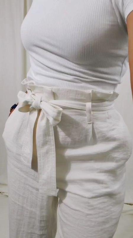 Paper bag pants, short sleeve t-shirt, white top, beige, will transition to fall fashion - layer up.   Purses, Target finds,   #LTKsalealert #LTKfit #LTKstyletip