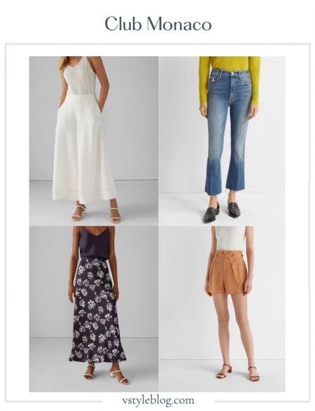 Club Monaco, Sale, Best of Sale, Flare Pants, Jeans, Maxi Skirt, Shorts, Paper Bag Shorts, Summer Looks, Summer Style.   #LTKstyletip #LTKtravel #LTKSeasonal