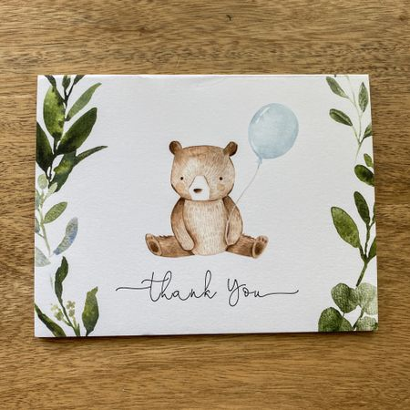 Woodland bear thank you cards, greenery with balloons baby shower cards envelopes. Baby - different color available  http://liketk.it/31ETF #liketkit @liketoknow.it  #LTKbaby #LTKunder50