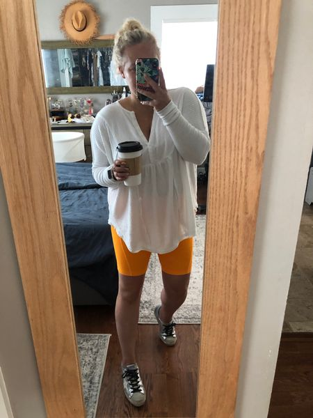 Mason picked out my outfit today. He wanted me to coordinate with him and these Zella bike shorts were the closest match to his Orange tshirt. I didn't snap a pic of us before dropping him off to preschool but I'll try and remember to snap a pic after I pick him up today.   #LTKsalealert #LTKstyletip #LTKunder50
