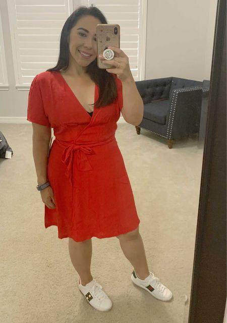 Red dress summer wrap dress   #LTKunder100 #LTKSeasonal #LTKunder50