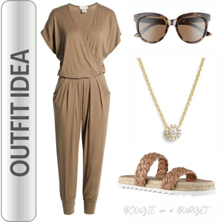 Camel jumpsuit. Cute travel outfit.   http://liketk.it/3fv9G #liketkit @liketoknow.it #LTKtravel #LTKshoecrush #LTKsalealert