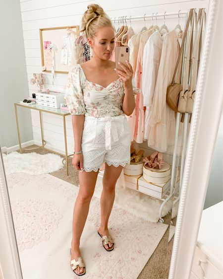 White lace eyelet shorts and a feminine floral top http://liketk.it/2RzSr #liketkit @liketoknow.it #LTKunder50 #ltksummer  HM finds // summer outfit // feminine outfit