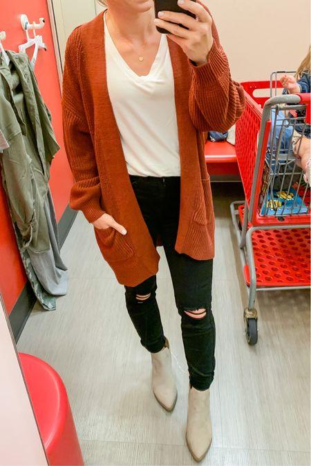 Target cardigan with black distressed jeans. #fallstyle #targetstyle  #LTKstyletip #LTKunder50 #LTKsalealert