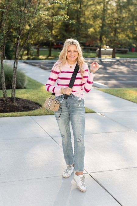 Sweater, jeans, sneakers and the perfect shearling Marc Jacobs purse! Use FANCY15 for 15% off the sweater!  #LTKHoliday #LTKstyletip #LTKunder100