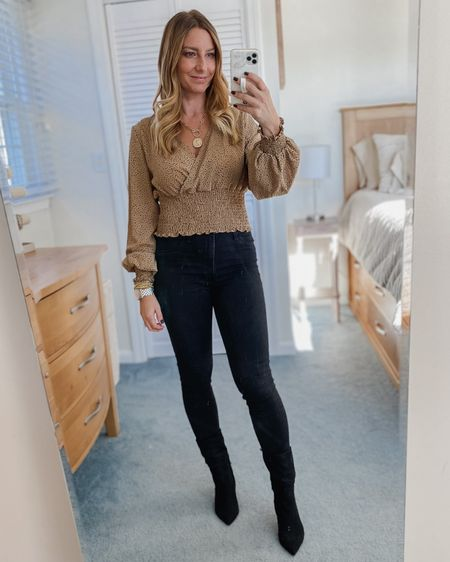 Cheetah cropped shirt, black jeans, black boots, Amazon jewelry  http://liketk.it/30SDJ #liketkit @liketoknow.it #LTKunder50 #LTKstyletip