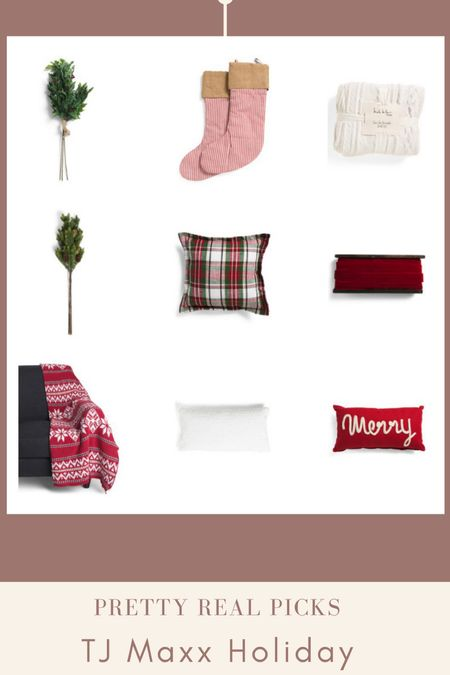 Tj Maxx just got the cutest Christmas decor in! Stockings, plaid Christmas throw pillow, faux Christmas stems, fair isle blanket, knit throw, and more! Holiday decor, tj Maxx finds   #LTKunder50 #LTKHoliday #LTKhome